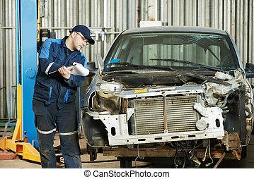 worker at car repair determination