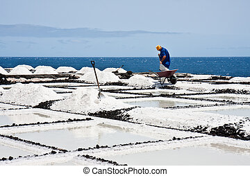 Worker at salt extraction La Palma