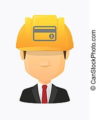 Worker avatar with a credit card - Illustration of a cartoon...