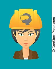 Worker avatar with   a female head wearing a virtual reality headset