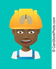 Worker avatar with  a healthy human lung icon