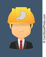 Worker avatar with  a healthy human stomach icon