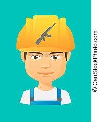 Worker avatar with  a machine gun sign