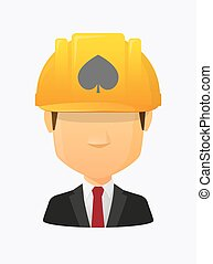 Worker avatar with the spade poker playing card sign