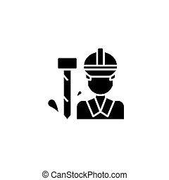 Worker black icon concept. Worker flat vector symbol, sign, illustration.
