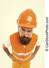 Worker builder confident and successful. Protective equipment concept. Builder enjoy success. Strong handsome builder. Creating solid foundation. Man protective hard hat and uniform white background
