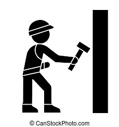 worker builder with hammer icon, vector illustration, black sign on isolated background