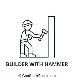 Worker builder with hammer vector line icon, linear concept, outline sign, symbol