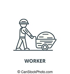 Worker builder with wheelbarrow vector line icon, linear concept, outline sign, symbol