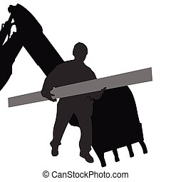 worker carries material by machine vector silhouette