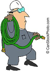 Worker Carrying A Coiled Garden Hose - This illustration...