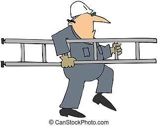 Worker Carrying A Ladder - This illustration depicts a man...