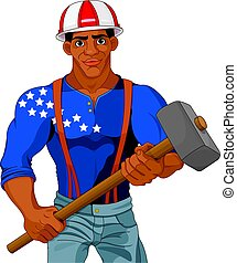 Worker - Cheerful construction worker holds hammer