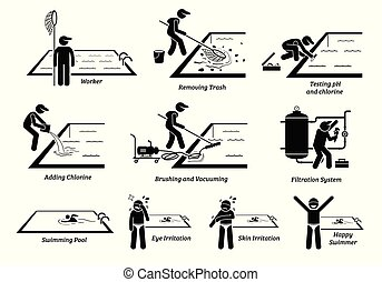 Worker cleaning swimming pool and maintenance services.