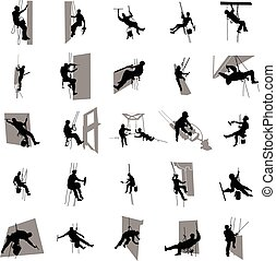 Worker climber silhouette set, simple style