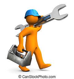 Worker - Orange cartoon character walks with big wrench on...