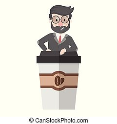 worker come out from coffee cup