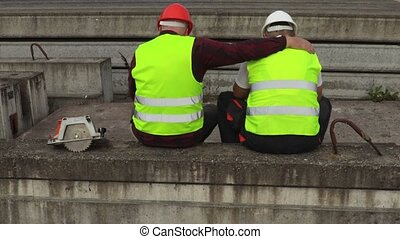 Worker comforts crying friend