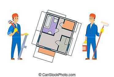 Worker Constructing New House, Floor Planning