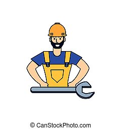 worker construction man with wrench tool