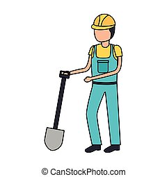 worker construction with shovel