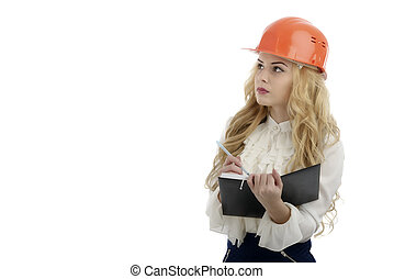 Worker contractor woman. Isolated on white background.