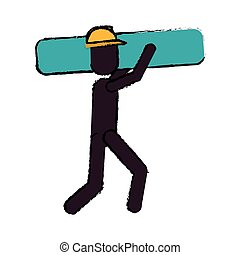 worker contruction carries material graphic drawing
