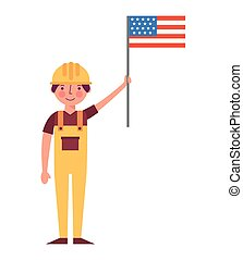 worker contruction holding american flag labor day
