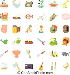Worker craft icons set, cartoon style