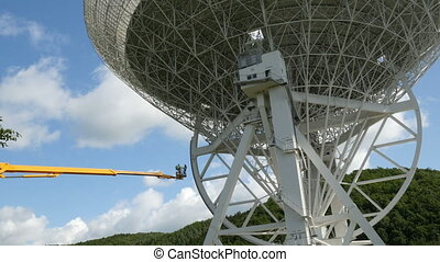 Workers on a crane renovate, painting the Effelsberg 100-m Radio Telescope.