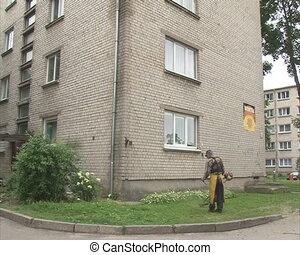 worker cut grass house