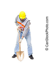 Worker digging with  shovel isolated on white
