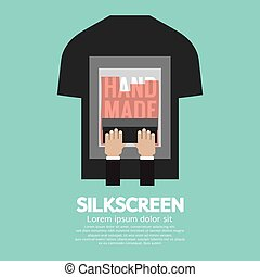 Worker Do Silkscreening On T-Shirt Vector Illustration