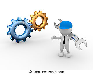 Worker - 3d people - man, person worker with wrench and...