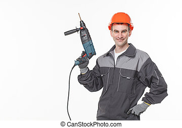 worker drill white background studio smile