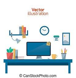 worker., escritório, criativo