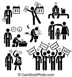 Worker Financial Problem Cliparts - A set of human pictogram...