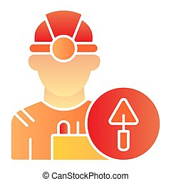 Worker flat icon. Builder color icons in trendy flat style. Engineer gradient style design, designed for web and app. Eps 10.
