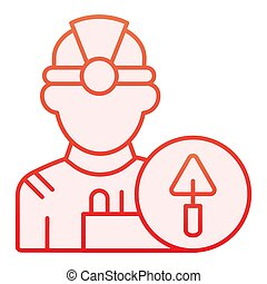 Worker flat icon. Builder red icons in trendy flat style. Engineer gradient style design, designed for web and app. Eps 10.