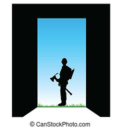worker front of the door color vector