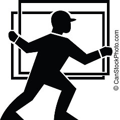 Illustration of a delivery worker handling a plate of glass done in black and white.