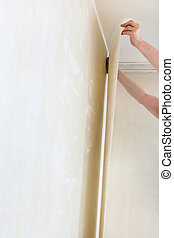worker hangs wallpaper on wall in apartment