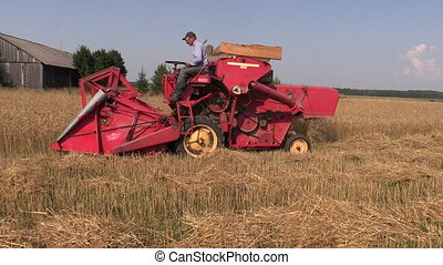 worker harvest wheat