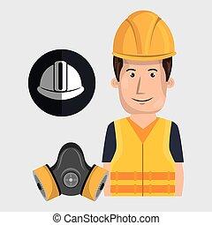 worker helmet mask gas