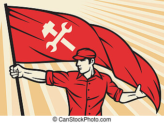 worker holding a flag