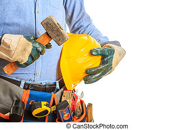 Worker holding a hammer