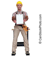 Worker holding clip-board
