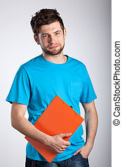Worker holding folder