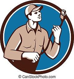 Worker Holding HDMI Plug Cord Circle Retro - Illustration of...