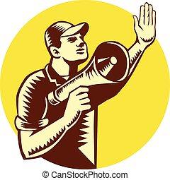 Worker Holding Megaphone Circle Woodcut